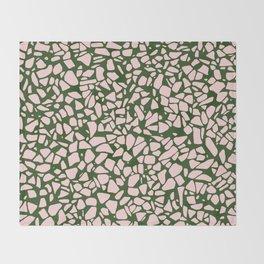 Stone Pattern - Salmon Pink & Olive Green Throw Blanket