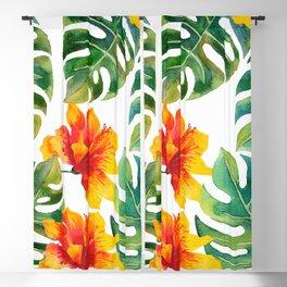 Monstera And Hibiscus Blackout Curtain