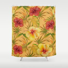 Leave And Flowers Pattern Shower Curtain