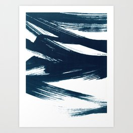 Gestural Abstract Indigo Blue Brush Strokes Art Print