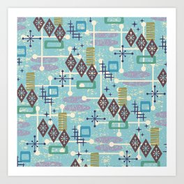 Retro Mid Century Modern Atomic Abstract Pattern 245 Art Print