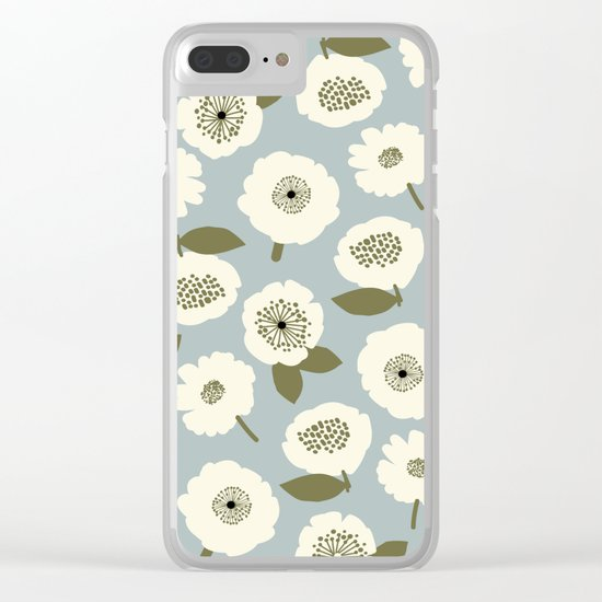 Floating Flowers Grey Clear iPhone Case