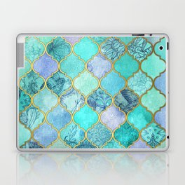 Cool Jade & Icy Mint Decorative Moroccan Tile Pattern Laptop & iPad Skin