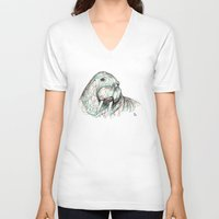 walrus V-neck T-shirts featuring Walrus by Ursula Rodgers