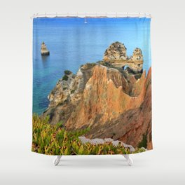 Praia Do Camilo At Sunset. Algarve. Portugal Shower Curtain
