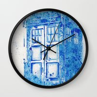 tardis Wall Clocks featuring TARDIS by Redeemed Ink by - Kagan Masters