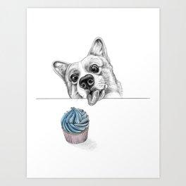 Cheeky Corgi Art Print