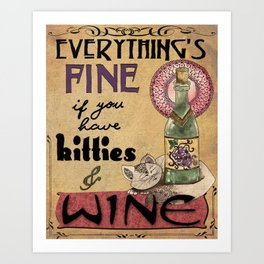 Kitties & Wine Art Print