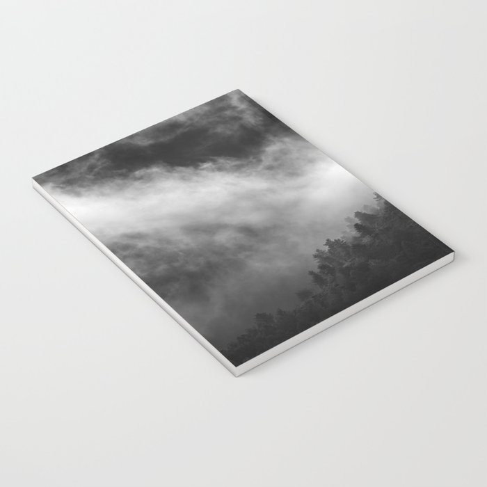 """""""Memories..."""" Into the woods. Foggy sunrise Notebook"""