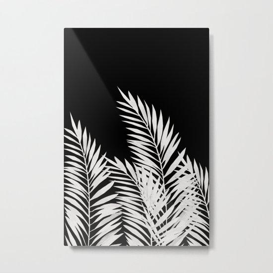 Palm Leaves White Metal Print