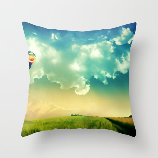 The Colorful Balloon In The Sky - Painting Style Throw Pillow