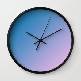 Blue and Soft Light Pink Magenta Gradient Ombré Abstract Wall Clock