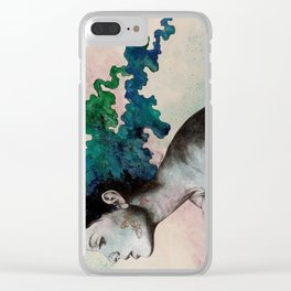 Moral Eclipse (colorful hair woman with moths tattoos) Clear iPhone Case