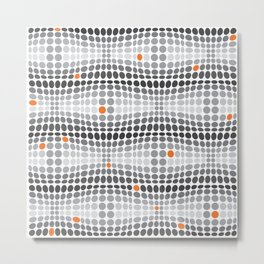 Dottywave - Grey and orange wave dots pattern Metal Print