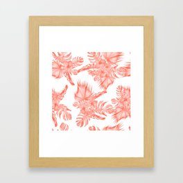Tropical Palm Leaves Hibiscus Flowers Deep Coral Framed Art Print