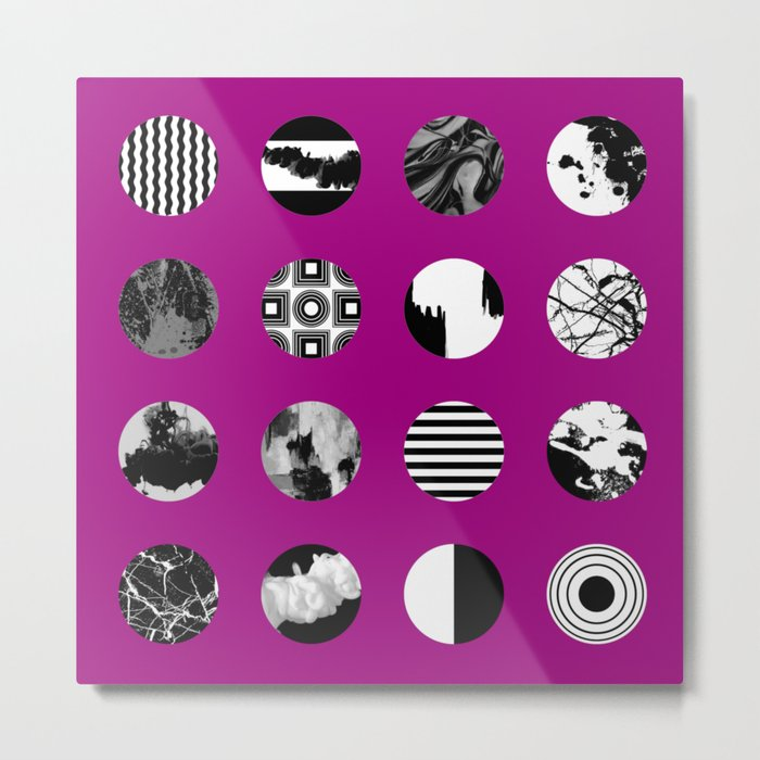 Purple Delight - Black And White Eclectic Random Designs On A Purple Background Metal Print