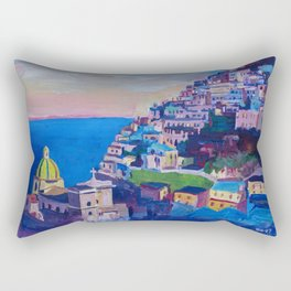 Retro Vintage Style Travel Poster Amazing Amalfi Coast At Sunset Rectangular Pillow