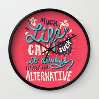 paper towns Wall Clocks featuring Paper Towns: It Beats The Alternative by Risa Rodil