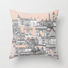 Paris toile sugar pink Throw Pillow