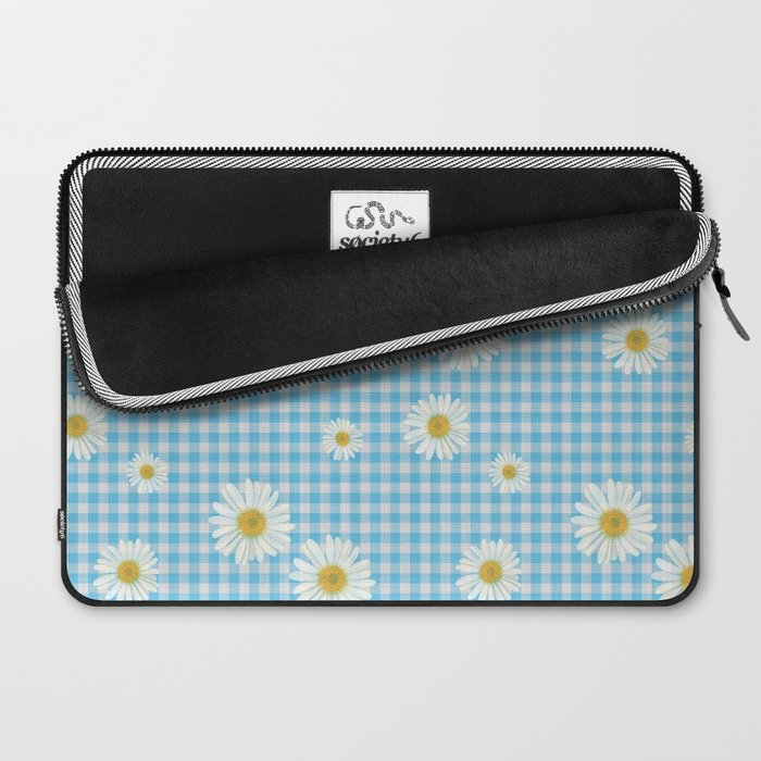 Daisies On Blue Gingham Laptop Sleeve