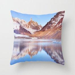 Cerro Torre, Patagonia, Argentina reflected in lake below, at sunrise Throw Pillow