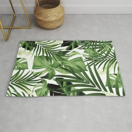 Tropical Jungle Leaves Pattern #12 #tropical #decor #art #society6 Rug