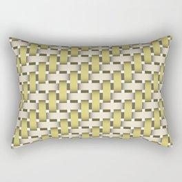 Golden Woven Basket-Look Rectangular Pillow