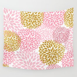 Pink and Gold Dahlias floral art Wall Tapestry