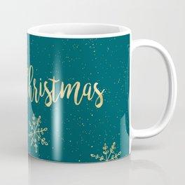 Merry Christmas Teal Gold Coffee Mug