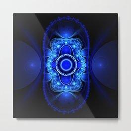 Blue Energy 3D Fractal Metal Print