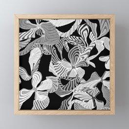 floral black and white inverse Framed Mini Art Print
