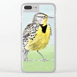 Wyoming Meadowlark Bird Art Clear iPhone Case