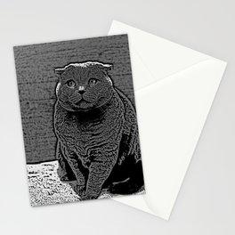 Cute Scottish Fold Cat In Monochrome Animal Art Stationery Cards