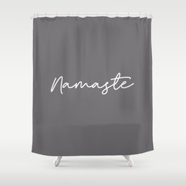 Namaste - Grey and White Shower Curtain