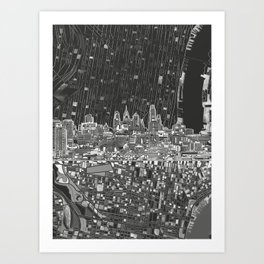 philadelphia city skyline black and white Art Print