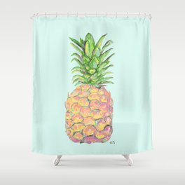 Mint Brite Pineapple Shower Curtain