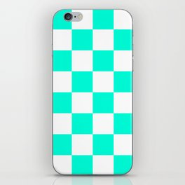 Cheerful Aqua Checkerboard Pattern iPhone Skin