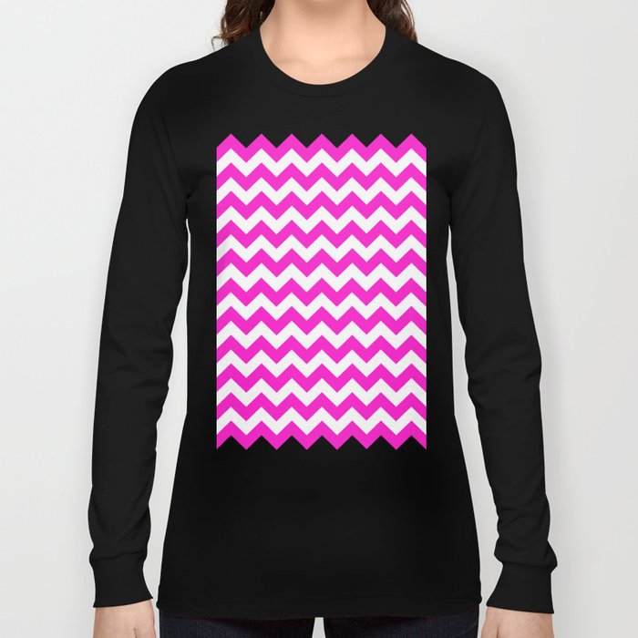 Chevron (Hot Magenta/White) Long Sleeve T-shirt