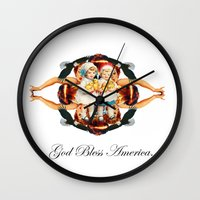 america Wall Clocks featuring america by Daniel Craft