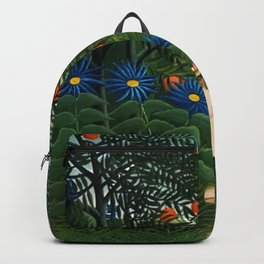 'Woman walking amid Tropical Blue Cornflowers in an exotic forest' by Henry Rousseau Backpack