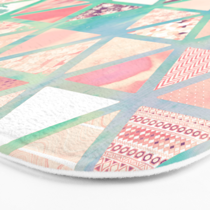 Pink Turquoise Abstract Floral Triangles Patchwork Bath Mat