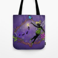 tinker bell Tote Bags featuring Sihouette Tinker Bell by Katie Simpson a.k.a. Redhead-K