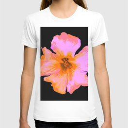 Pink Painted Pansy on Black by Aloha Kea Photography T-shirt