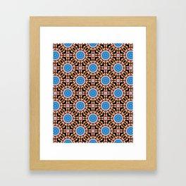 Lightning Mandala - White, blue, orange- Mandala Fractal Framed Art Print