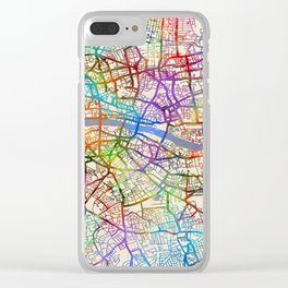 London England City Street Map Clear iPhone Case
