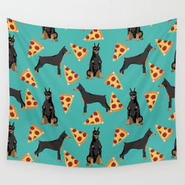 Doberman Pinscher pizza food slice foodie dog lover doberman dog owner custom dog breed Wall Tapestry