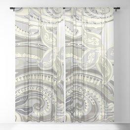 Polynesian Tribal Butter Yellow Threads Sheer Curtain
