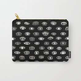 Lucky Eyes, White on Black Carry-All Pouch