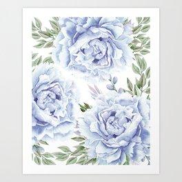 Pretty Indigo Blue Roses Garden Art Print