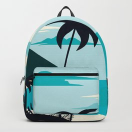 Coastal Blue Tropical Island  Backpack